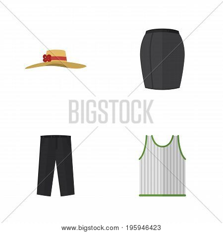 Flat Icon Dress Set Of Stylish Apparel, Pants, Elegant Headgear And Other Vector Objects