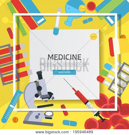 Medicine banner with flat icons. Vector illustration. Medical tests concept frame. Laboratory scientist tools and equipment.