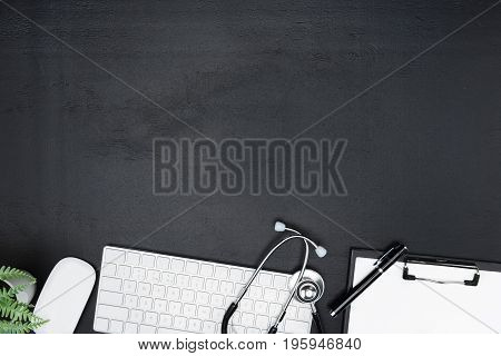 Arranged Digital Devices, Clipboard, Pen And Stethoscope Isolated On Grey