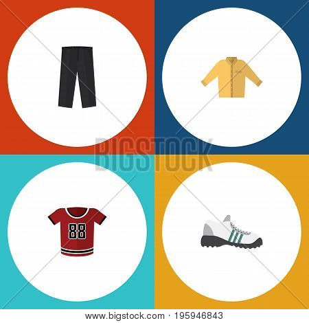 Flat Icon Clothes Set Of Banyan, Pants, Sneakers And Other Vector Objects