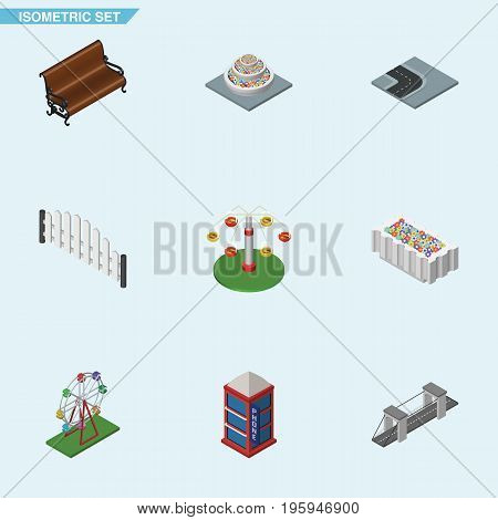 Isometric Architecture Set Of Swing Attraction, Phone Box, Recreation And Other Vector Objects