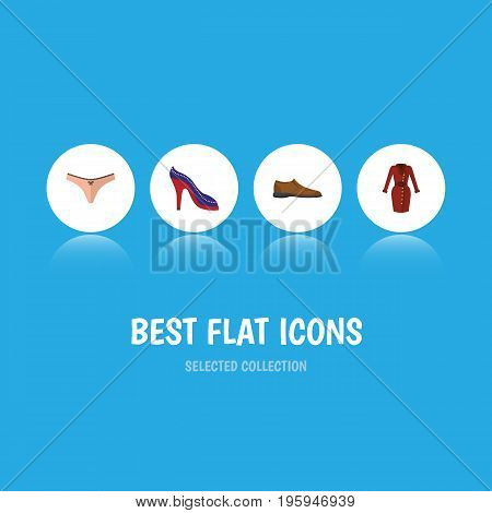 Flat Icon Garment Set Of Lingerie, Clothes, Heeled Shoe And Other Vector Objects