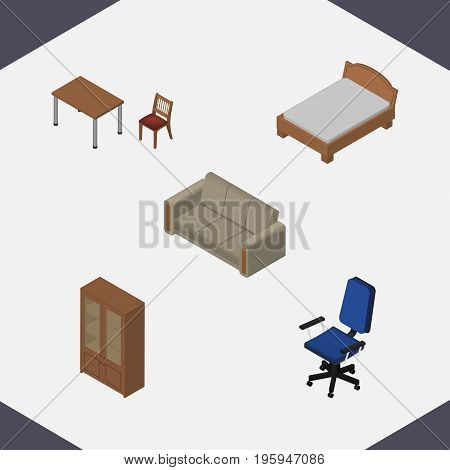 Isometric Design Set Of Couch, Bedstead, Cabinet And Other Vector Objects