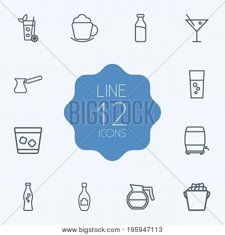 Set Of 12 Drinks Outline Icons Set