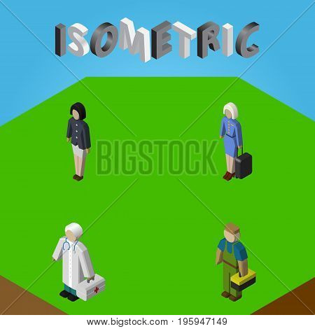 Isometric Person Set Of Plumber, Girl, Medic And Other Vector Objects