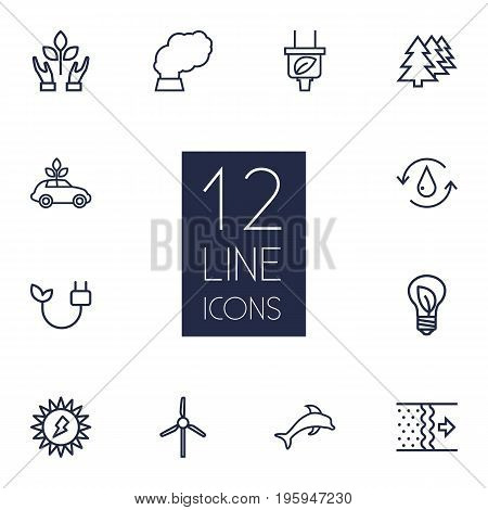 Set Of 12 Atmosphere Outline Icons Set