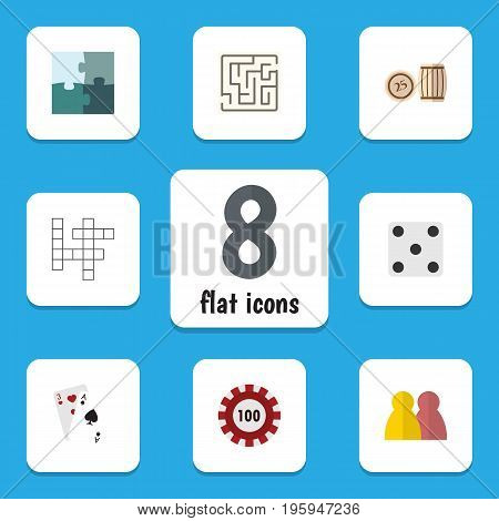 Flat Icon Entertainment Set Of People, Backgammon, Ace And Other Vector Objects