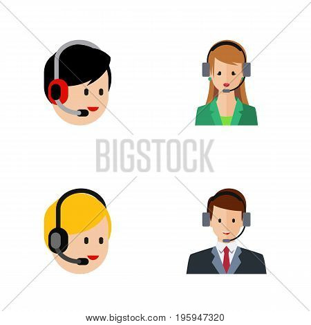 Flat Icon Call Set Of Hotline, Call Center, Secretary And Other Vector Objects