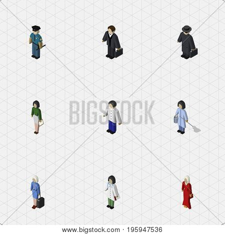 Isometric Person Set Of Doctor, Pedagogue, Detective And Other Vector Objects