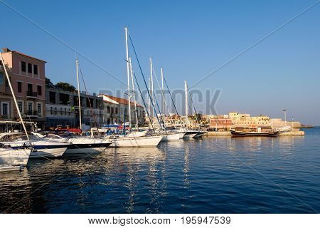 The Old Port In Chania Crete With Yachts
