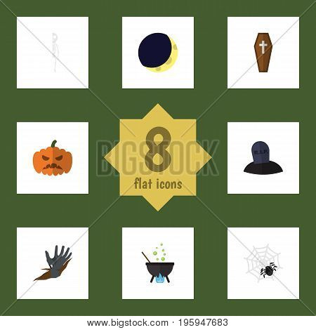 Flat Icon Celebrate Set Of Spinner, Tomb, Pumpkin And Other Vector Objects