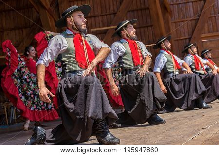 TIMISOARA ROMANIA - JULY 9 2017: Dancers from Argentina in traditional costume perform at the international folk festival