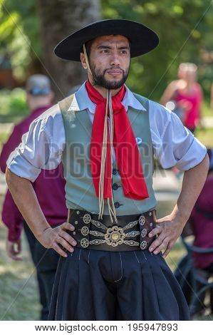 TIMISOARA ROMANIA - JULY 9 2017: Portrait of dancer man from Argentina in traditional costume present at the international folk festival