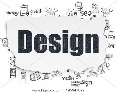 Advertising concept: Painted black text Design on Torn Paper background with  Hand Drawn Marketing Icons