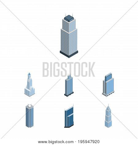 Isometric Construction Set Of Cityscape, Urban, Residential And Other Vector Objects