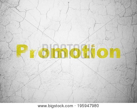 Marketing concept: Yellow Promotion on textured concrete wall background