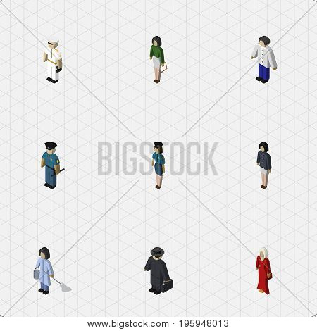 Isometric People Set Of Male, Female, Officer And Other Vector Objects