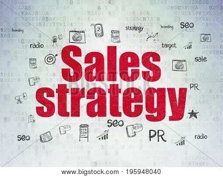 Marketing concept: Painted red text Sales Strategy on Digital Data Paper background with  Hand Drawn Marketing Icons
