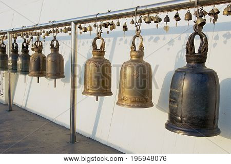 Sacral bells in Wat Saket Ratcha Wora Maha Wihan (the Golden Mount temple) in Bangkok, Thailand.