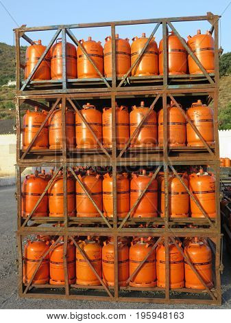 Propane Gas Bottles At Depot