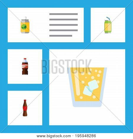 Flat Icon Drink Set Of Beverage, Bottle, Drink And Other Vector Objects