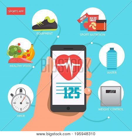 Hand holding smartphone with fitness app concept on touchscreen. Modern flat vector icons of healthy lifestyle fitness and physical activity. Healthy lifestyle concept.