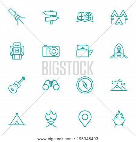 Set Of 16 Picnic Outline Icons Set