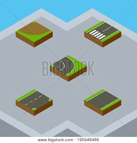 Isometric Road Set Of Turn, Asphalt, Unilateral And Other Vector Objects