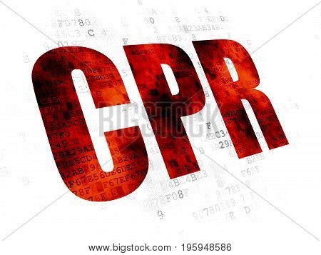 Health concept: Pixelated red text CPR on Digital background
