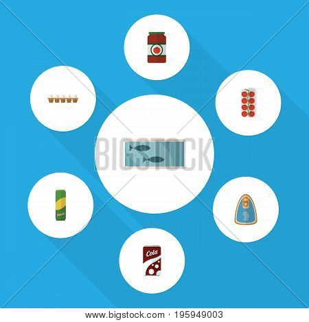 Flat Icon Eating Set Of Canned Chicken, Ketchup, Tin Tuna And Other Vector Objects