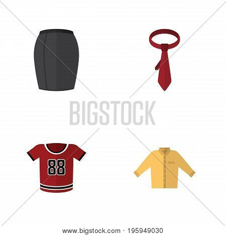 Flat Icon Clothes Set Of T-Shirt, Cravat, Stylish Apparel And Other Vector Objects