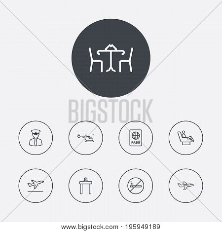 Set Of 9 Plane Outline Icons Set