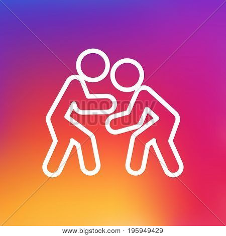 Isolated Wrestling Outline Symbol On Clean Background