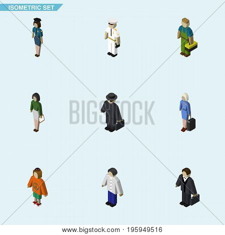 Isometric Person Set Of Male, Policewoman, Seaman And Other Vector Objects