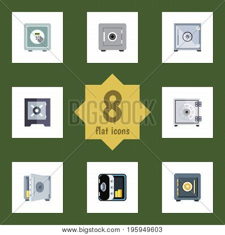 Flat Icon Safe Set Of Coins, Locked, Protection And Other Vector Objects