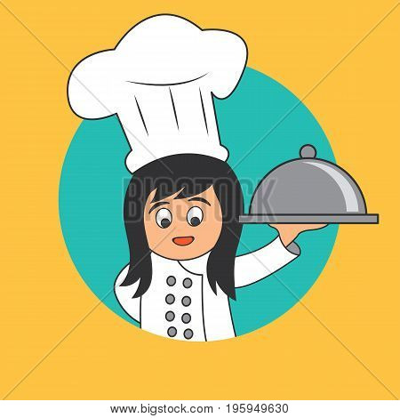 chef woman with the toque holding cloche platter ready to serve. cartoon character. vector illustration
