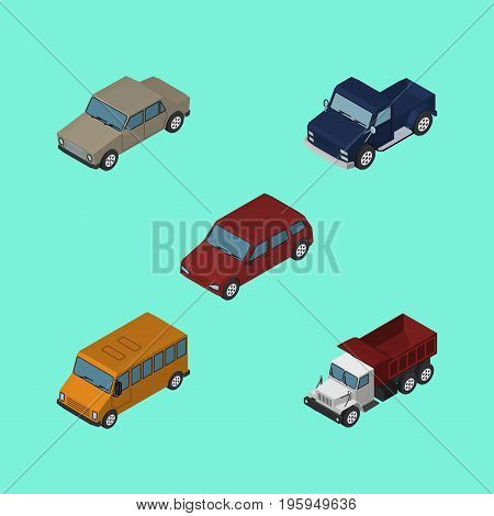 Isometric Car Set Of Suv, Freight, Autobus And Other Vector Objects
