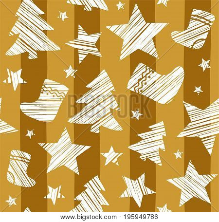 Christmas background, sock, star, tree, seamless, gold, vector. White Christmas trees, socks and stars are drawn with a diagonal bar on a gold striped background.