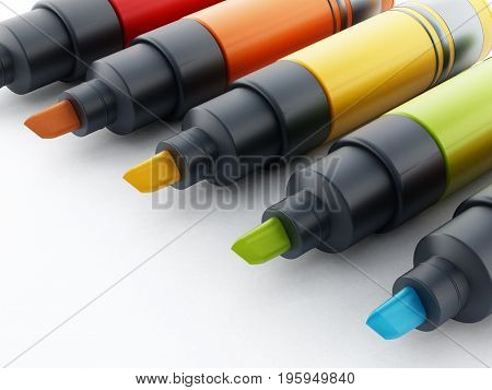Multi colored marker pen isolated on white background. 3D illustration.