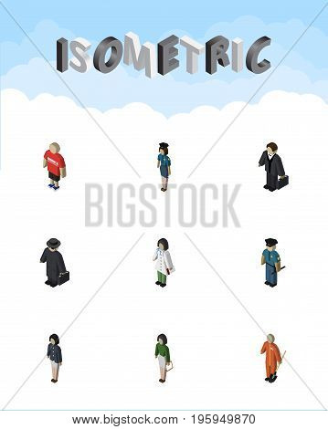 Isometric Person Set Of Guy, Policewoman, Pedagogue And Other Vector Objects