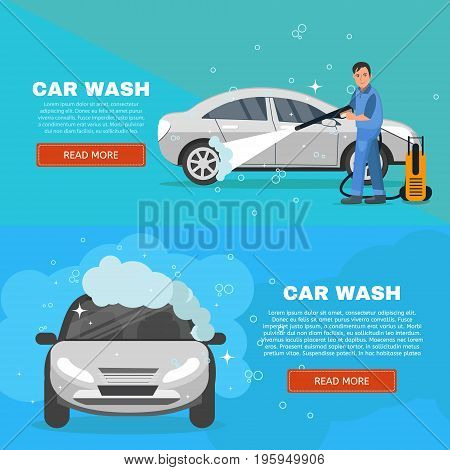 Vector concept car wash service illustration. Car washing concept horizontal banners set. Man worker washing car vector illustration.