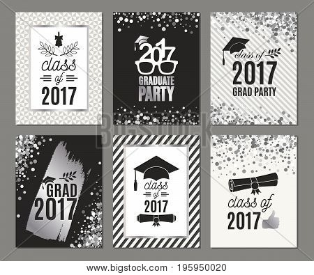 Graduation Class of 2017 silver greeting cards set. Vector party invitations. Grad posters. Isolated