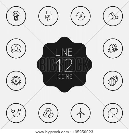 Set Of 12 Bio Outline Icons Set