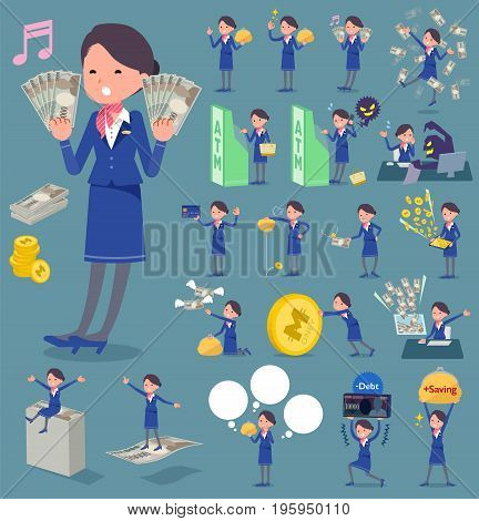 Flat Type Cabin Attendant Blue Woman_money