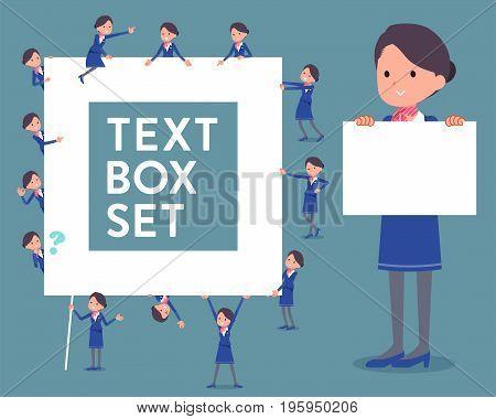 Flat Type Cabin Attendant Blue Woman_text Box