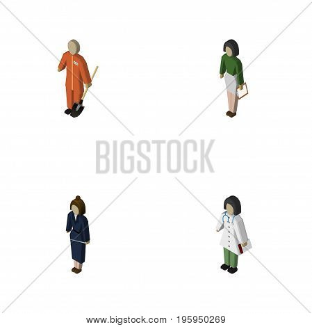 Isometric People Set Of Businesswoman, Pedagogue, Doctor And Other Vector Objects