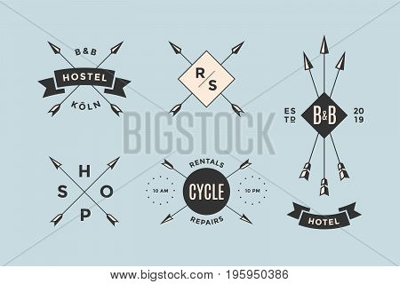 Set of emblem, label and design elements for hotel, bicycle shop, hostel and barbershop in vintage retro style. Logo, signs, labels, identity and badges for business brands. Vector Illustration