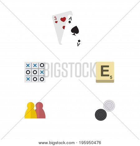 Flat Icon Entertainment Set Of Mahjong, People, X-O And Other Vector Objects