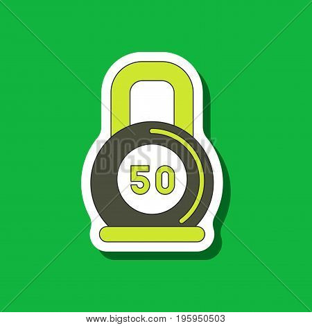 paper sticker on stylish background Weight sport