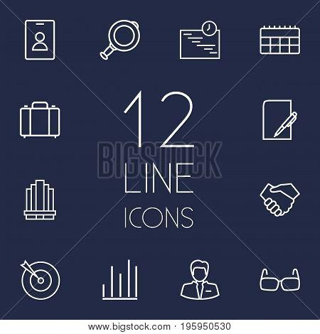 Set Of 12 Trade Outline Icons Set